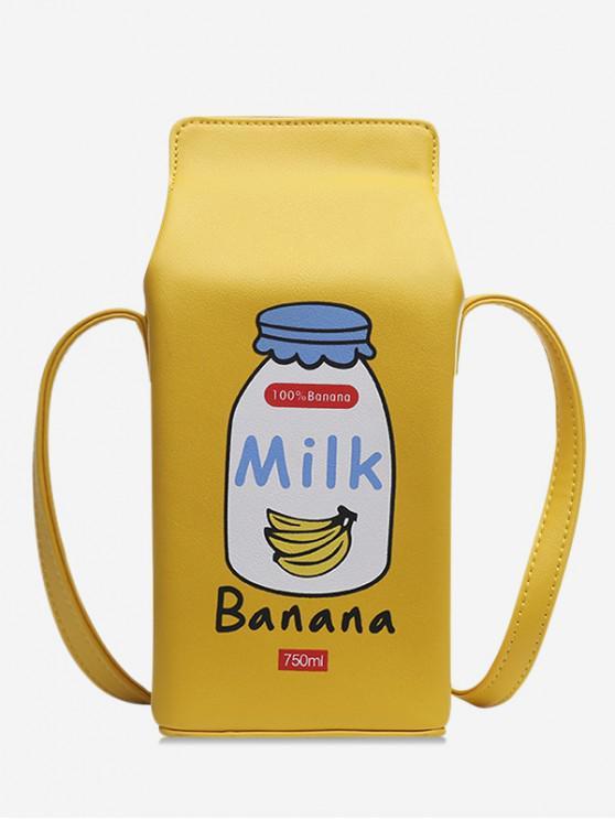 buy Letter Graphic Milk Box Crossbody Bag - YELLOW