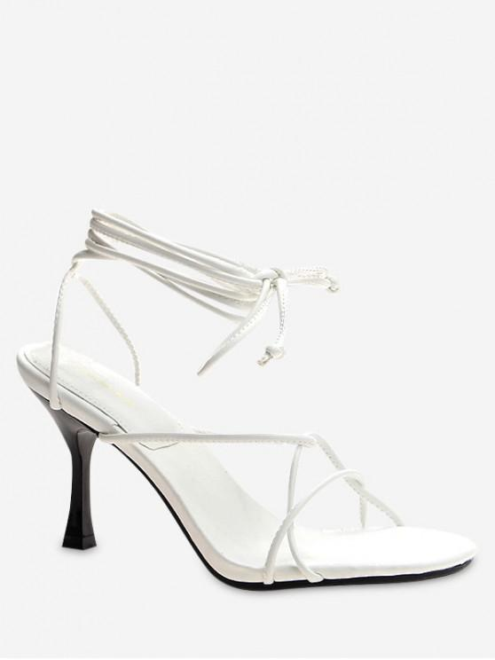 women's Lace Up Strappy High Heel Sandals - WHITE EU 39