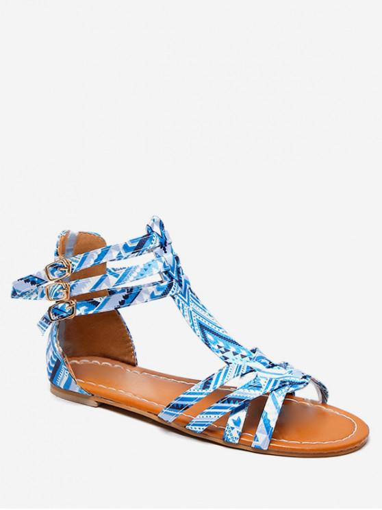 ladies Bohemian Print Flat Sandals - DAY SKY BLUE EU 39