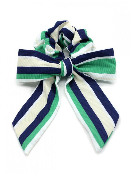 Bande de Cheveux Elastique Nouée Rayée - Vert Trèfle