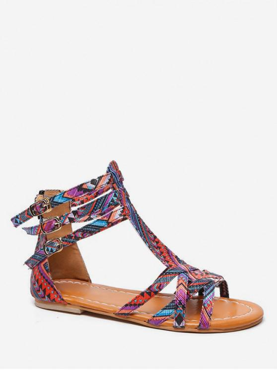 Bohemian Print Flat Sandals BLACK DAY SKY BLUE PINK PURPLE