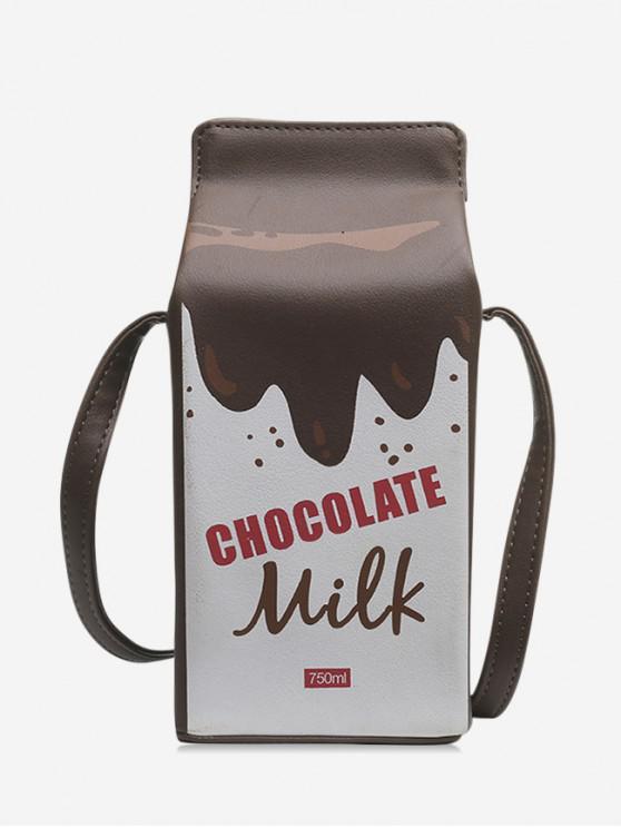 ladies Letter Graphic Milk Box Crossbody Bag - COFFEE
