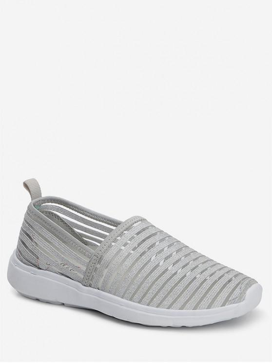 best Striped Breathable Casual Flat Shoes - SILVER EU 39