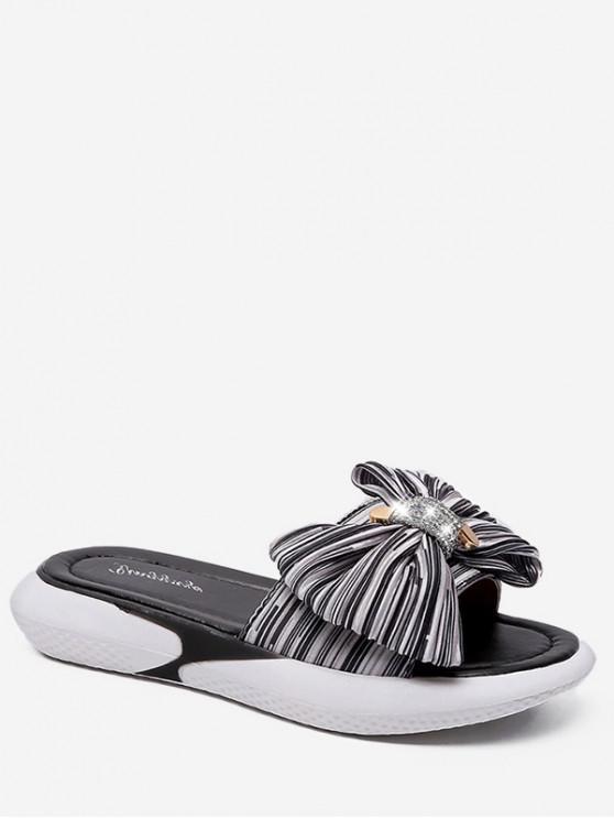 sale Bow Striped Outdoor Slides - WHITE EU 39