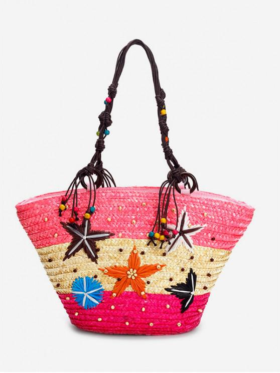 women's Starfish Bead Color Splice Straw Beach Tote - PINK
