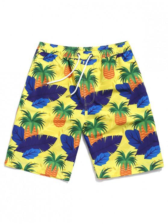 affordable Plant Leaf and Pineapple Print Beach Shorts - YELLOW 2XL