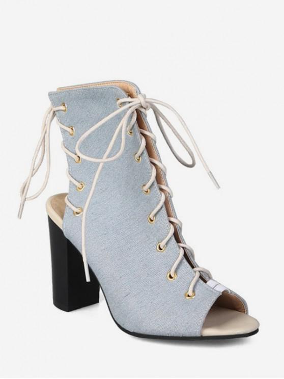 buy Peep Toe Lace Up Denim Boots - LIGHT BLUE EU 44
