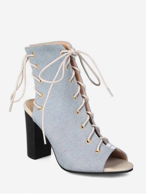 best Peep Toe Lace Up Denim Boots - LIGHT BLUE EU 40