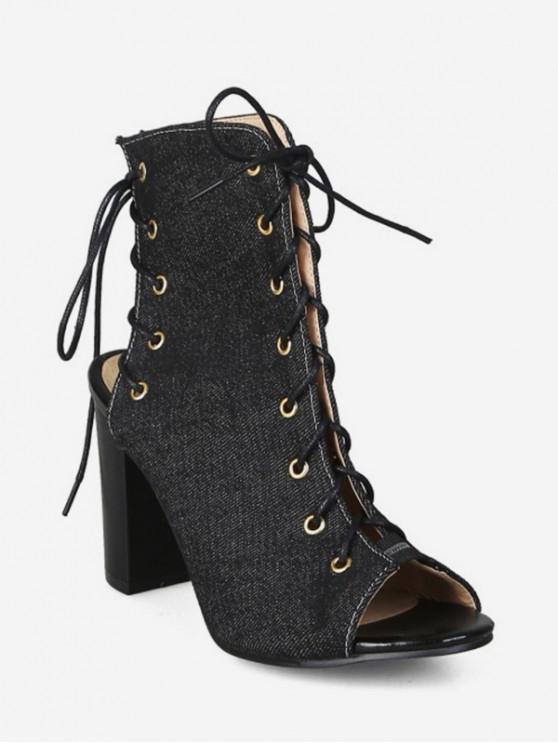 fancy Peep Toe Lace Up Denim Boots - BLACK EU 33