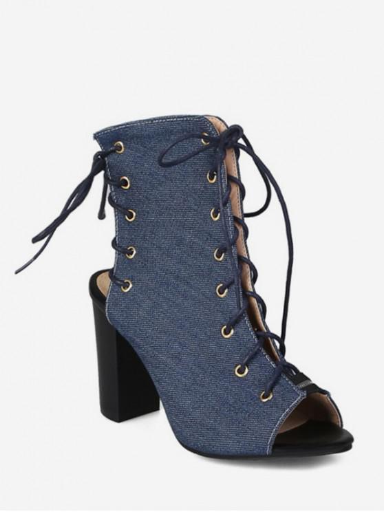 women's Peep Toe Lace Up Denim Boots - DENIM DARK BLUE EU 48