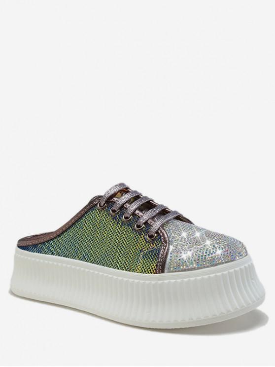 ladies Glitter Sequined Slingback Platform Shoes - ACU CAMOUFLAGE EU 36