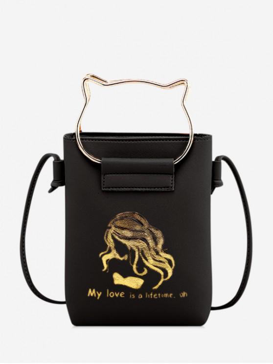 lady Cat Ears Shape Cash Shoulder Bag - BLACK