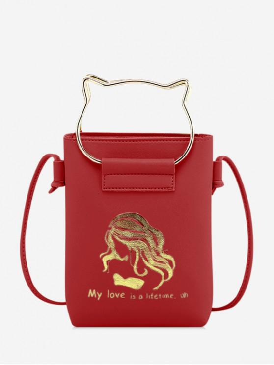 outfit Cat Ears Shape Cash Shoulder Bag - RED