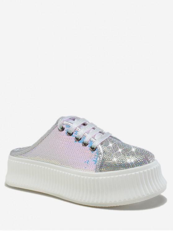trendy Glitter Sequined Slingback Platform Shoes - SILVER EU 36