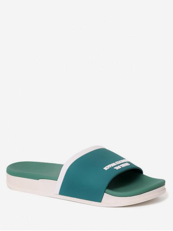 ladies Contrast Letter Flat Slippers - GREEN EU 37
