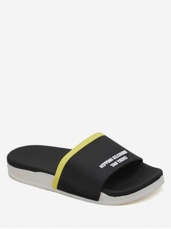 latest Contrast Letter Flat Slippers - BLACK EU 40