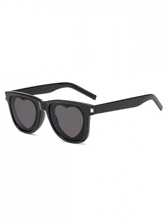 trendy Heart Sun Protection Sunglasses - BLACK REGULAR