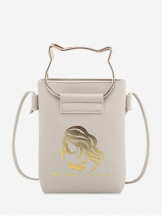fashion Cat Ears Shape Cash Shoulder Bag - GRAY
