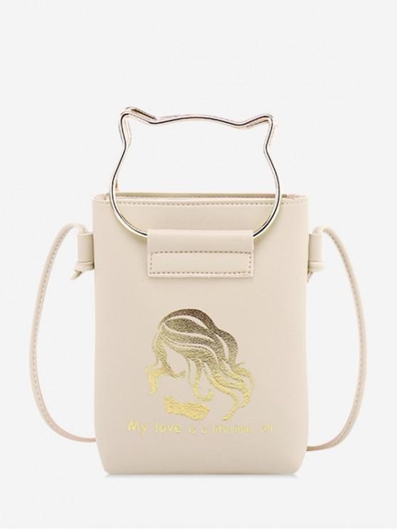 chic Cat Ears Shape Cash Shoulder Bag - CRYSTAL CREAM