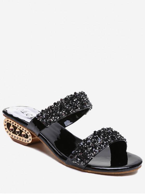 fancy Strange Heel Shiny Slides - BLACK EU 41