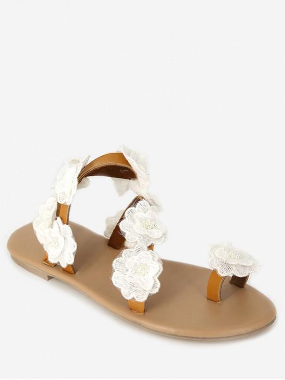 lady Flower Flat Beach Sandals - WHITE EU 37