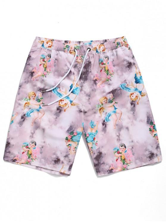 trendy Floral Angel Painting Print Board Shorts - MULTI L