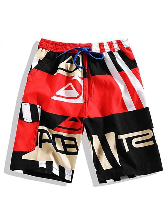 fashion Striped Graphic Print Color Block Shorts - MULTI L