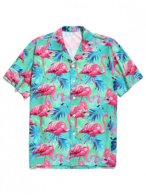 Tropisches Blätter-Flamingo-Druck-Strand-Shirt - Multi-A XL