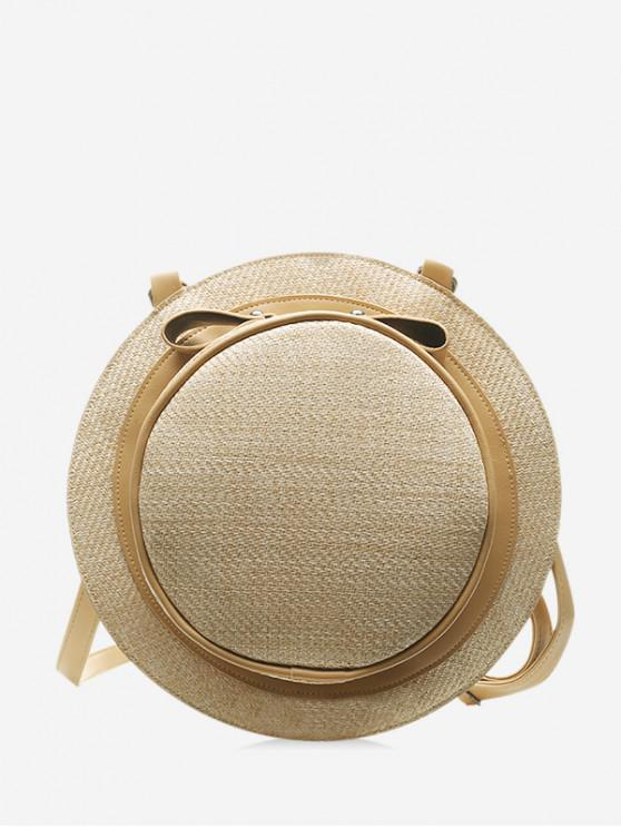 online Straw Hat Shape Crossbody Bag - LIGHT KHAKI