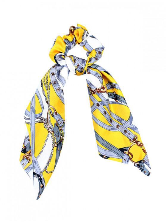 womens Big Bowknot Cloth Print Scrunchies - SUN YELLOW