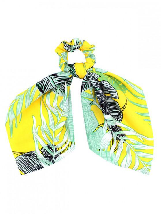 buy Big Bowknot Cloth Print Scrunchies - YELLOW