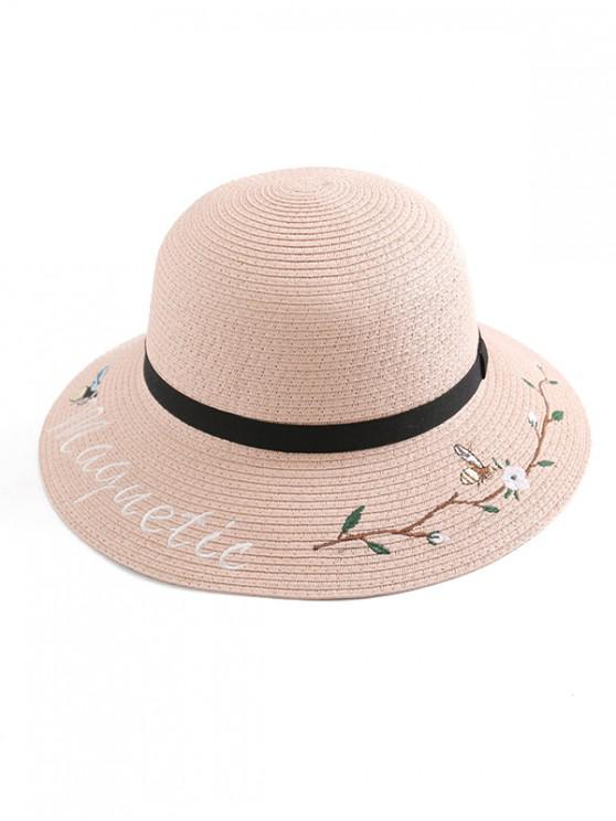 sale Embroidery Flower Letter Straw Hat - SAKURA PINK
