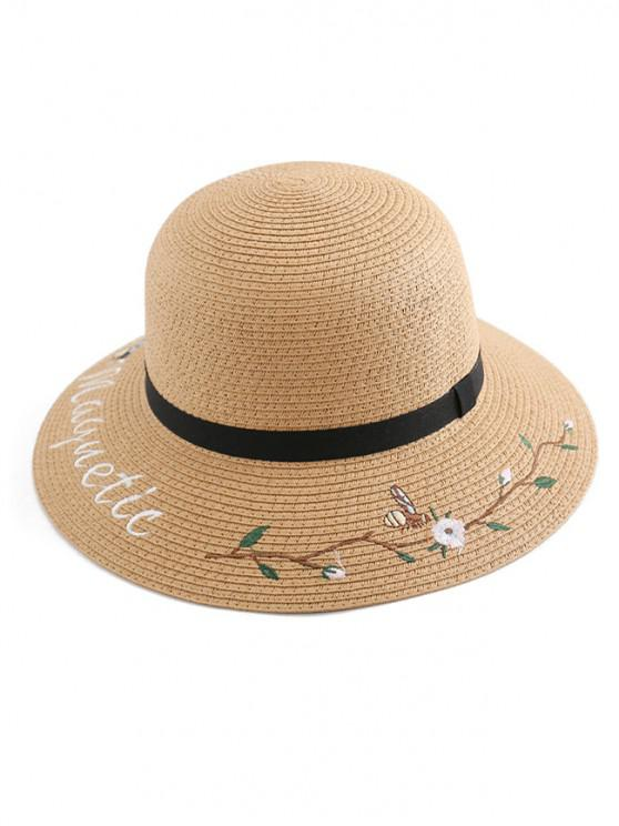 sale Embroidery Flower Letter Straw Hat - CAMEL BROWN