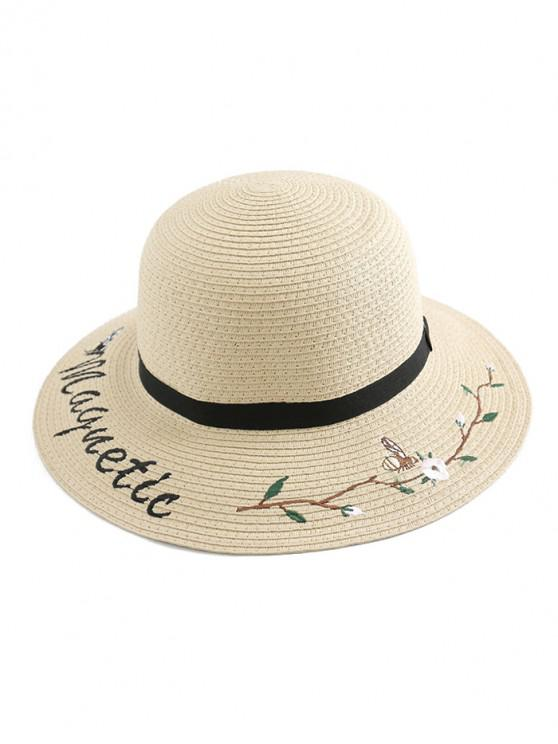 trendy Embroidery Flower Letter Straw Hat - WARM WHITE