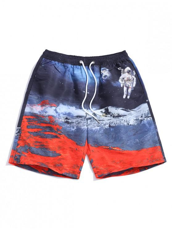 affordable Galaxy Moon Surface Print Drawstring Shorts - MULTI 2XL