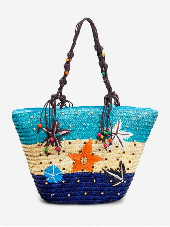 new Starfish Bead Color Splice Straw Beach Tote - BABY BLUE