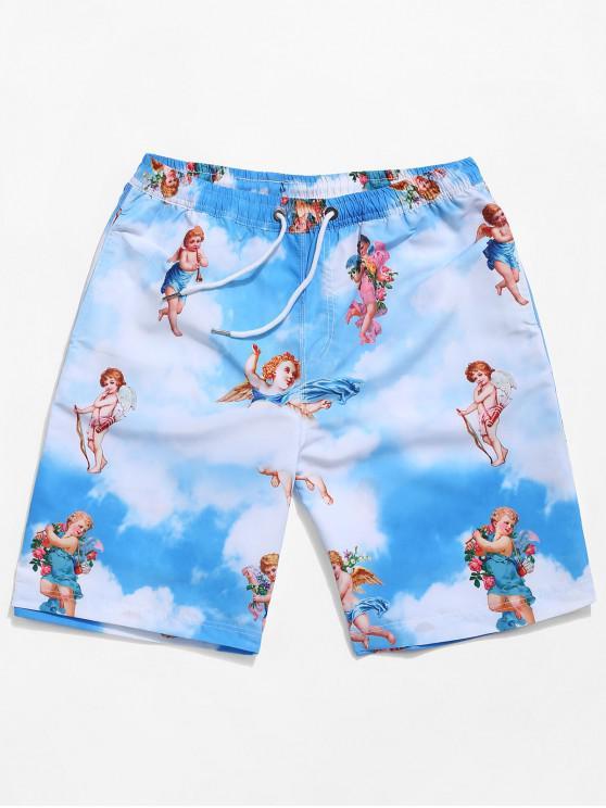 ladies Angel Blue Sky Cloud Print Casual Beach Shorts - MULTI 2XL
