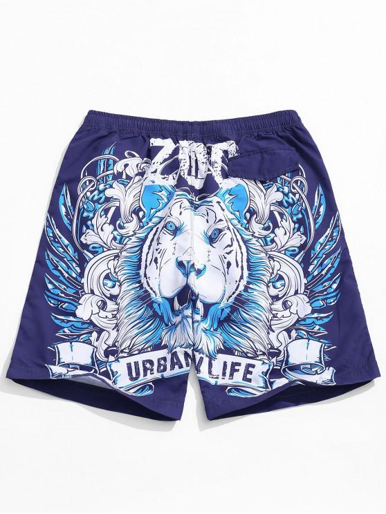 new Animal Pattern Print Casual Shorts - PURPLE IRIS 2XL