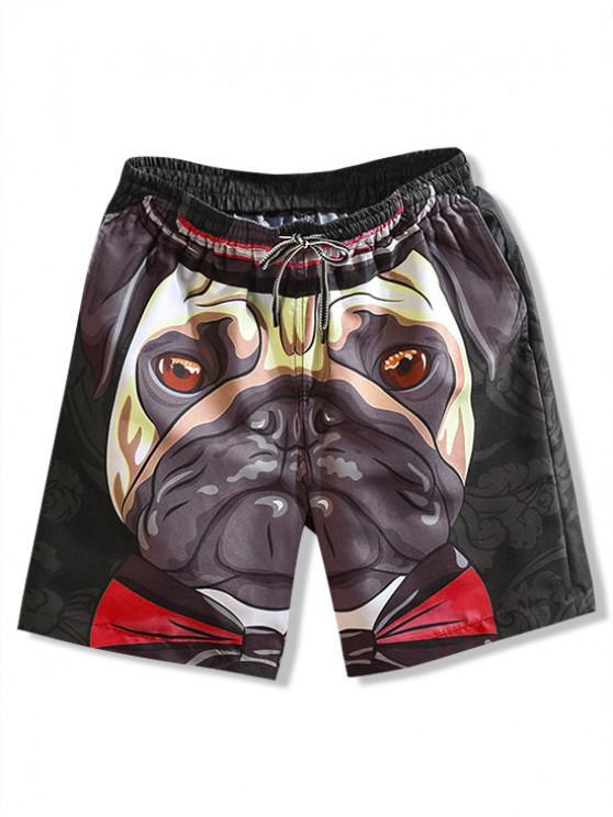 fashion Floral Dog Print Casual Beach Shorts - BLACK L