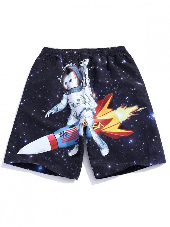 ladies Galaxy Cat Astronaut Print Drawstring Shorts - BLACK L
