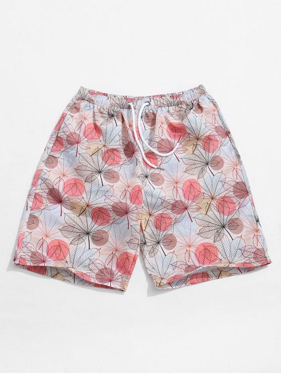 Shorts casuales con estampado de hojas de forma redonda - Multicolor 2XL
