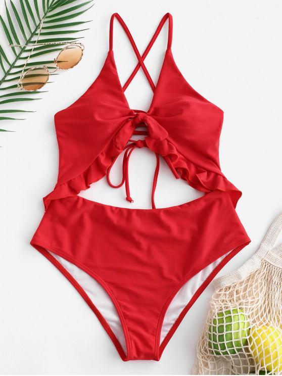new ZAFUL Ruffle Lace-up Cutout Swimsuit - LAVA RED S