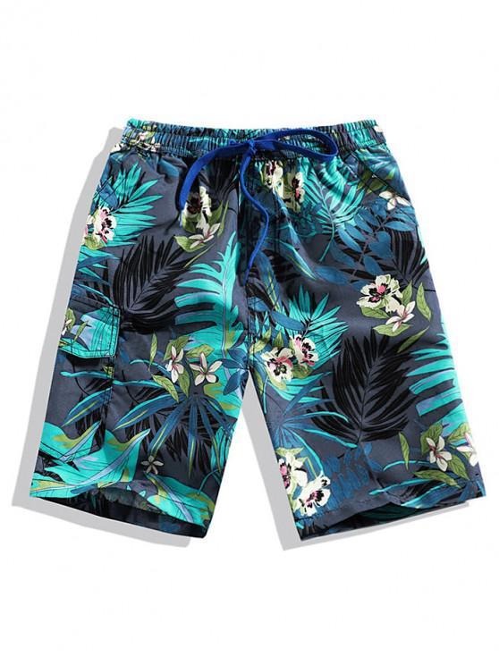 Shorts de playa con estampado floral de hojas - Cadetblue L