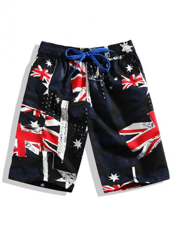 sale Australia Flag Print Casual Drawstring Shorts - MIDNIGHT BLUE 4XL