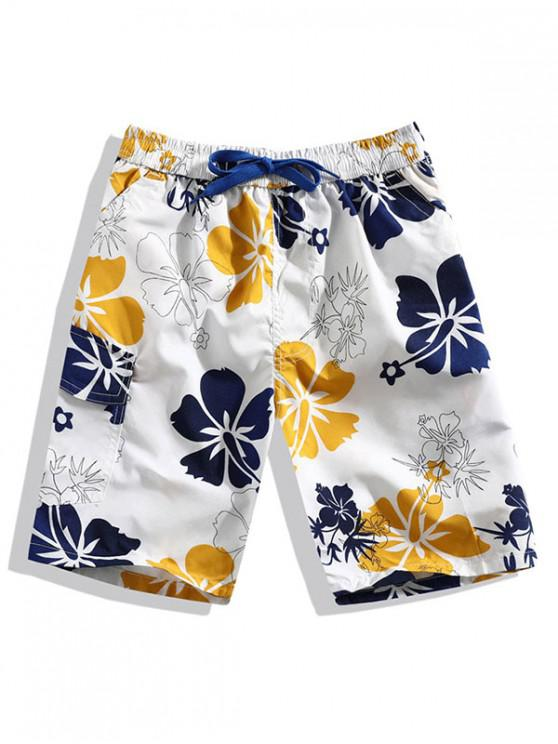 buy Flower Print Casual Beach Shorts - WHITE L