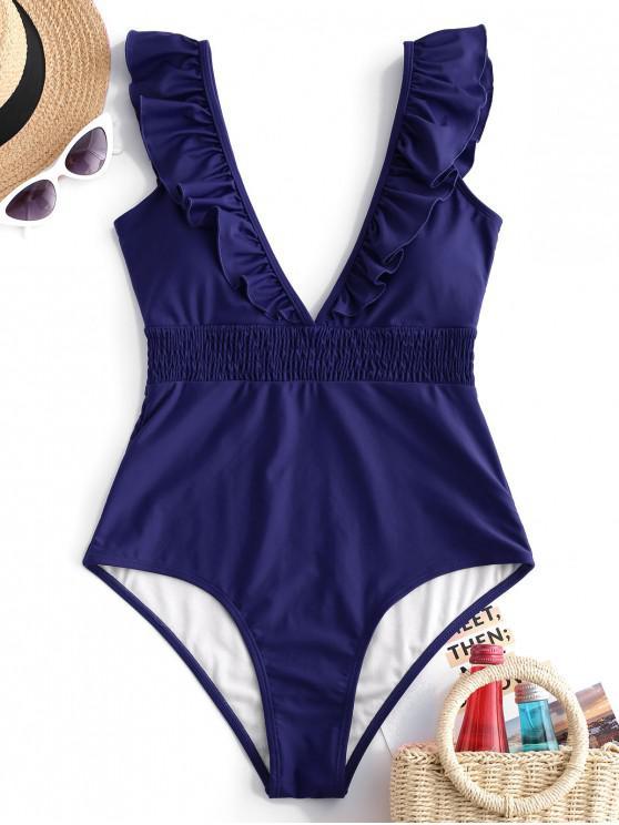 new ZAFUL Ruffle Shirred Plunge Swimsuit - LAPIS BLUE L