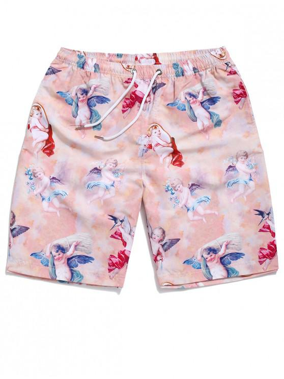 women Angel Print Drawstring Beach Shorts - MULTI L