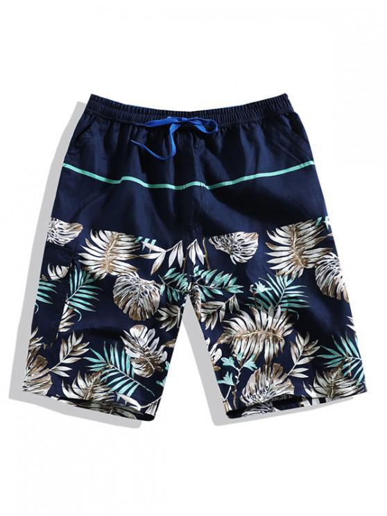 trendy Tropical Leaf Print Board Shorts - BLUE XL