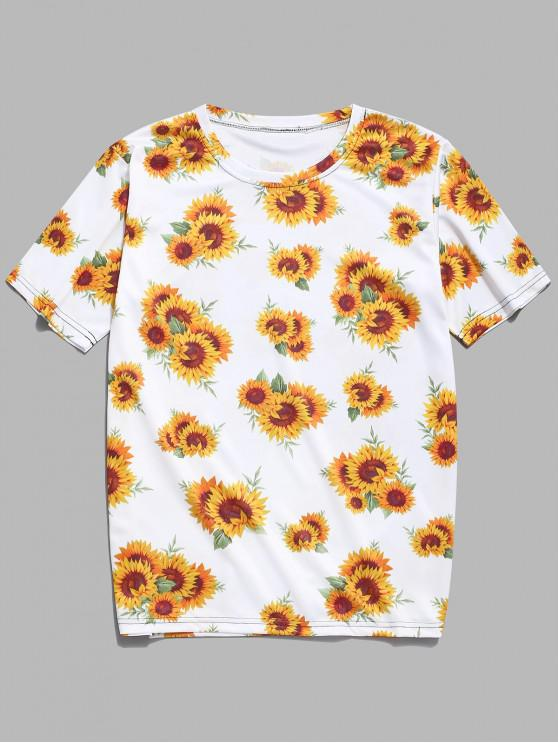 women's Sunflower Print Casual T-shirt - CORN YELLOW M