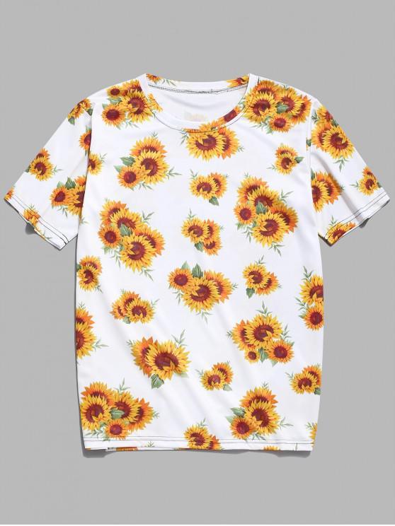 Camiseta Casual Estampado Girasol - Amarillo de Maíz M